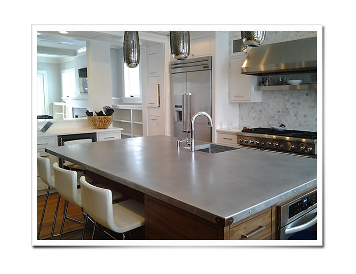 Custom metal countertops zinc countertops copper for Zinc kitchen countertop