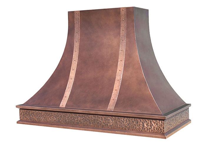 custom made copper range hood with hammered band